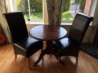 Kitchen table and 2 faux leather chairs