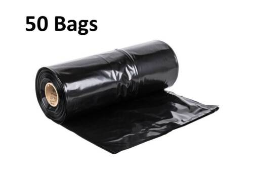 (50-Pack) Black 55-60 Gallon Heavy Duty Industrial Plastic Can Liner Trash Bags