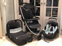 HAUCK EXDISPLAY 3 IN 1 BLACK AND GREY UNISEX TRAVEL SYSTEM PRAM PUSHCHAIR FROM BIRTH REDUCED TO £159