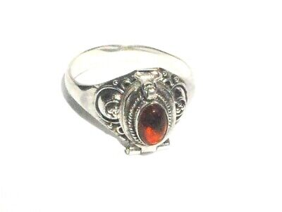 Sterling Silver Poison Ring With Oval Shape Rose Amber Oval Shape Amber Ring