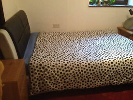 Large Leather Double Bed & Mattress