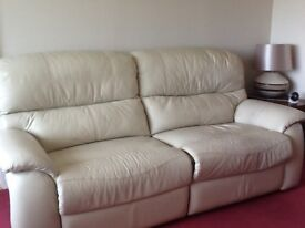 2 Cream Leather Reclining Sofas- 2 seater and 3 seater.