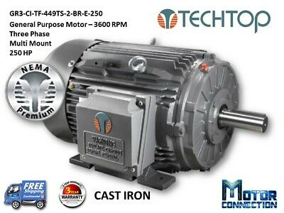 250 HP Electric Motor, GEN PURP, 3600 RPM, 3-Phase, 449TS, Cast Iron, NEMA Prem