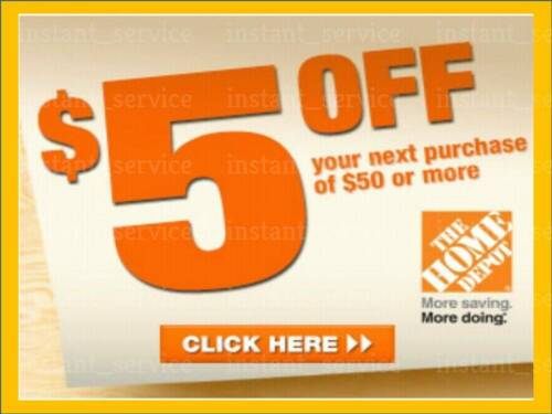 Two~2x~ Home Depot Coupon $5 OFF $50 In-Store-Only ~~ lNSTANT~FAST~SENT-1min
