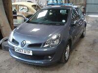 Renault Clio 2007 1.4 grey blue cheap to insure car