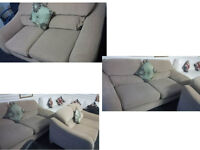 STUNNING HARVEYS BEIGE 3 SEATER AND 2 SEATER FABRIC SOFAS ULTIMATE COMFORT AND VERY MODERN