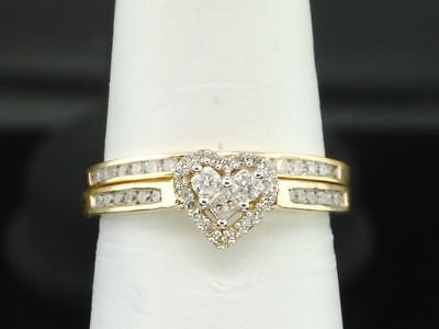Ladies 10K Yellow Gold Diamond Engagement Ring Heart Wedding Band Bridal Set .5C Diamond Ladies Bridal Set