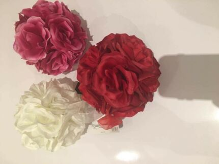 Flower wedding balls sets of 4 in Pink, Cream and Red