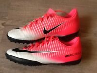 Nike pink & white Astro turf football boots, size 4. With Pink laces.