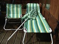 2 sunloungers and 2 garden chairs and parasol by ikea