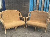 PAIR OF LUXURIOUS ROYAL WEAVE CAIN SOFA'S.