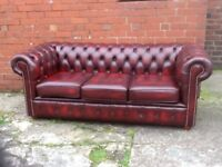 OXBLOOD RED LEATHER CHESTERFIELD 3 SEATER SOFA EXCELLENT CONDITION CAN DELIVER IF NEEDED £600