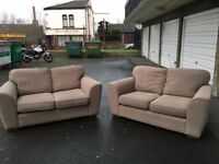 x2 2seater dark beige fabric sofas from next great condition