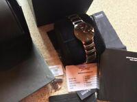 Rado Centrix Quartz Black Dial Two Tone Men's Watch R30934712 like rolex
