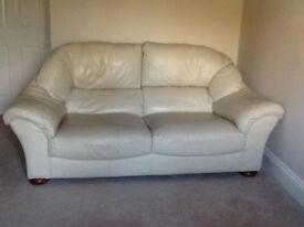 Cream leather sofa (Marks & Spencer)