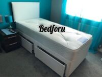 Single Black, White or Grey bed with memory foam or orthopaedic mattress.