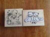 Gardening Teddy & two Teddies Rubber Stamps