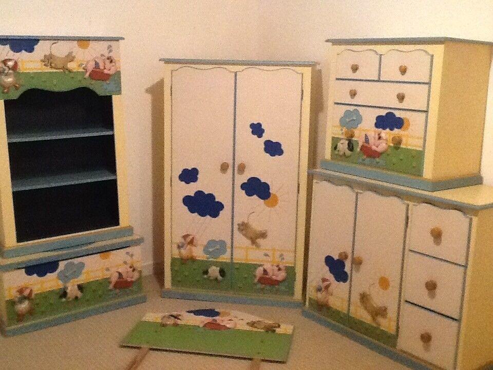 6 piece Nursery Kids Bedroom Furniture, wardrobe, bookcase, drawers, child robe, headboard, Douvet
