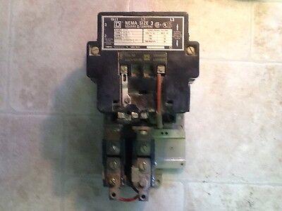 A 120//240Vac Coil Square D 8536 SB01 2 Pole Motor Starter Nema Size 0 Ser