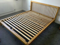 Stunning solid oak Habitat king size bed frame, 160cm w, excellent condition & quality