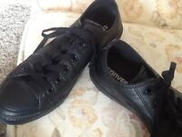 Converse All Star black leather trainers,plimsolls size 6