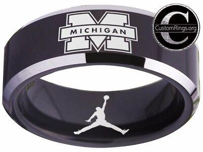 Michigan Wolverines Ring Mens Ring Logo Black Wedding Band Sz 4 - 17  #michigan ()