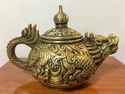Chinese Brass carp lotus carving ornament flagon teapot Home Decoration