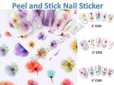3D Nail Art Stickers Multi Water Color Ink Flower Decals Manicure Peel & Stick 3d Nail Art Sticker