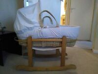 Unisex white Moses basket with mattress, matching quilt and pine rocking stand
