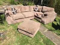 Corner sofa with footstool - great condition