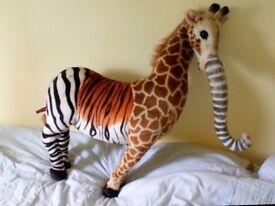 large soft animal, elephant, zebra, giraffe, tiger