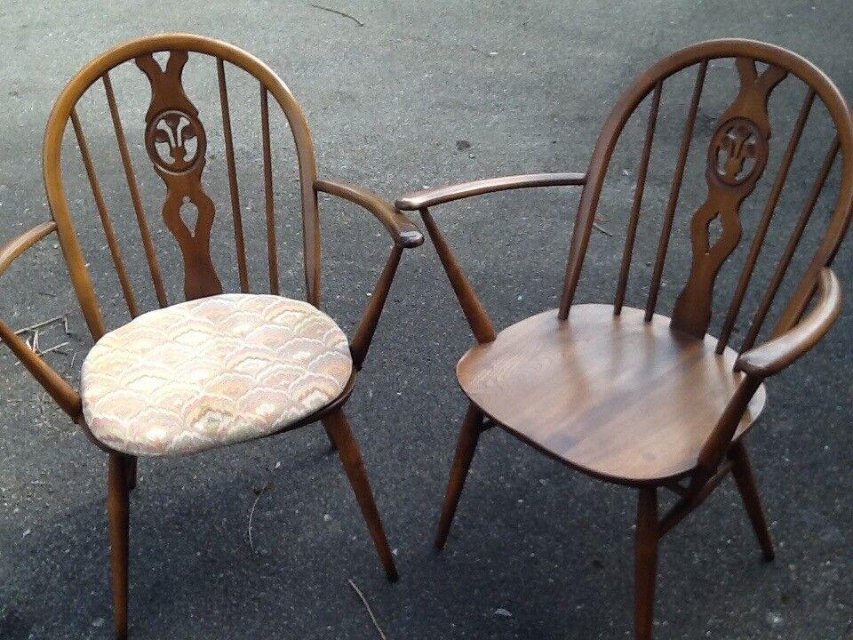 2 Ercol Fleur De Lys Carver Dining Chairs