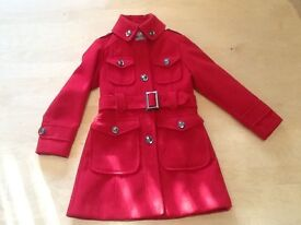 NEXT girls military style coat in red age 7-8yrs in great condition as not worn much