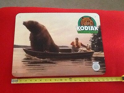 Rare Kodiak Snuff Grizzly Bear In Boat Fishing Metal Tobacco Sign Never Used