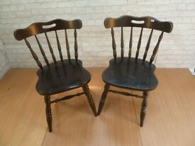 2 x Solid Farmhouse Style Country Kitchen dining Chairs Delivery Available