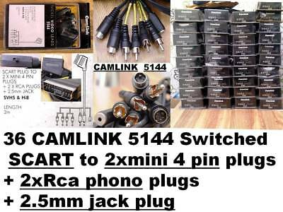 36 CAMLINK 5144 Switched Scart to 2xRCA + 2 x 4pin S-Video SVHS + 2.5mm jack Hi8