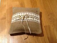 BRAND NEW HESSIAN AND CALICO WEDDING RING CUSHION