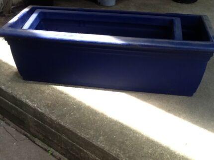 Blue planter boxes x 2
