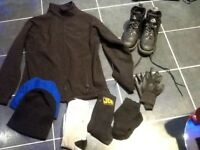 Mens steel toe work boots,size10/12/14,reggata jacket,beanie,wooly hat,socks,gloves,only£10loc deliv