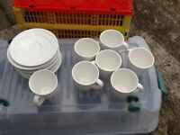 Seven Cups, Seven Saucers, all White