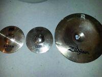 """Zildjian +Sabian Cymbals Cracked & 10"""" Remo Skin (Free P+P)"""