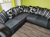 FACTORY-PACKED SHANNON BLACK AND GREY CORNER SOFA AND 3+2 SOFA SET AVAILABLE