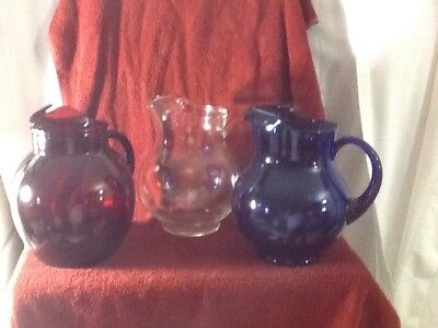 Beautiful Set Of 3 Glass Round Pitcher RUBY RED, COBALT BLUE & CLEAR PATRIOTIC