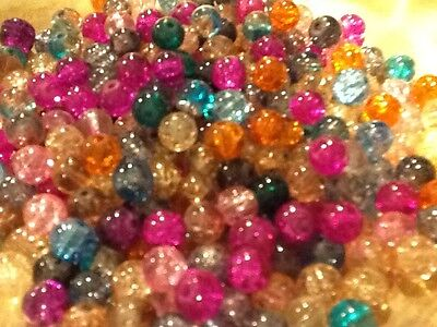 CRACKLE CRYSTAL GLASS BEADS, SOLD BY 400 BEADS 8MM ASSORTED COLORS