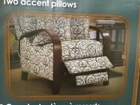 Armchair Fabric Recliner With Two accent Pillows Ex Display