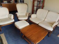 3 Piece Ercol Suite with Foot Stool and Coffee Table in good condition