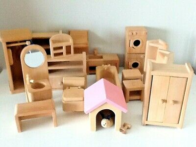 LARGE WOODEN DOLLS HOUSE BUNDLE CHUNKY GOOD QUALITY