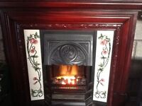 Traditional mahogany electric fire suite