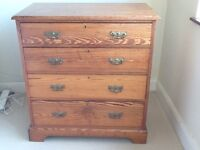 solid pitch pine chest of drawers