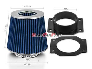 Mass Air Flow Intake Sensor MAF Adapter+BLUE Filter For 90-96 300ZX Z32 3.0L V6